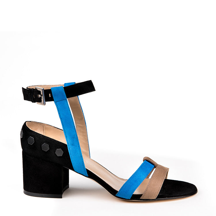 Suede open toe with chunky heel
