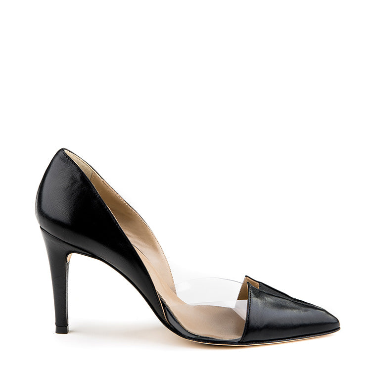 Leather pointy toe heel with plexi