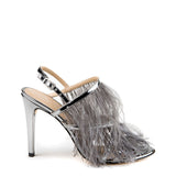 Tiered feather strappy heel