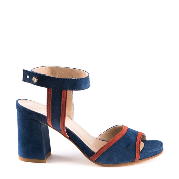 Two tone sandal with chunky heel