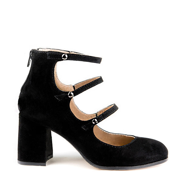 Rounded square toe pump with straps