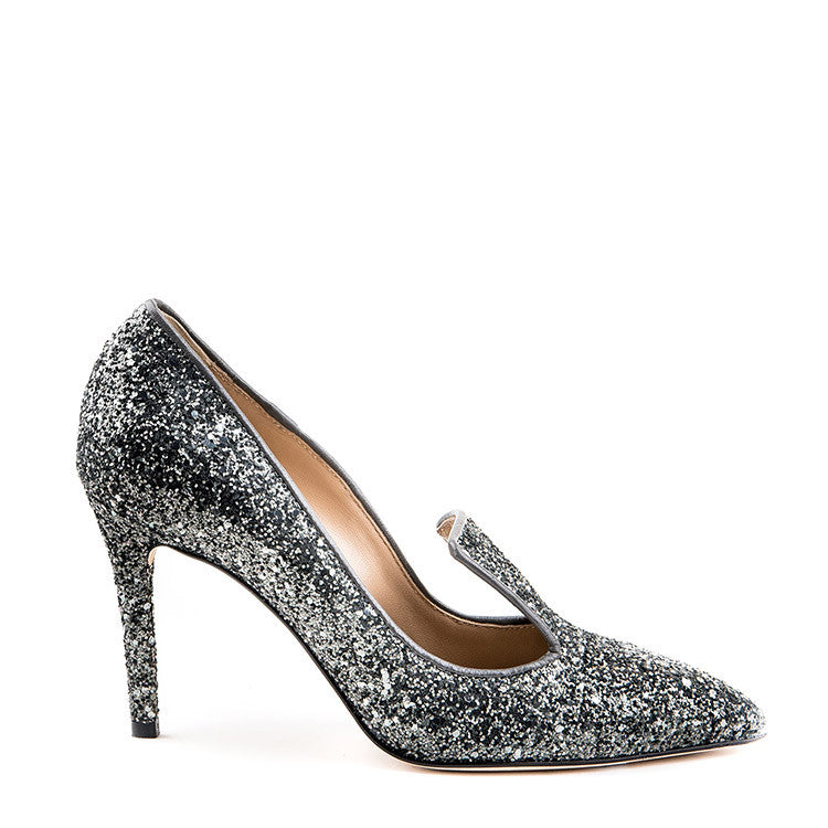 Glitter pointy loafer stiletto