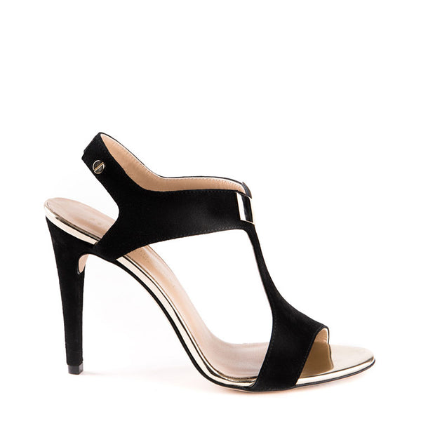 Suede open toe high heeled sandal