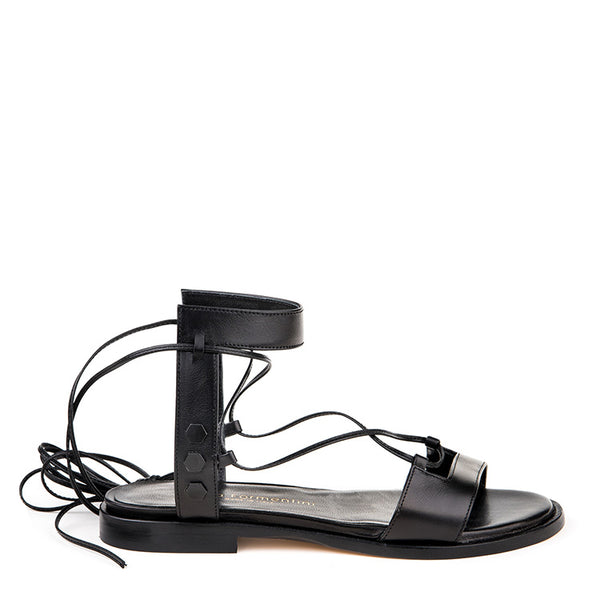 Leather laced-up sandal