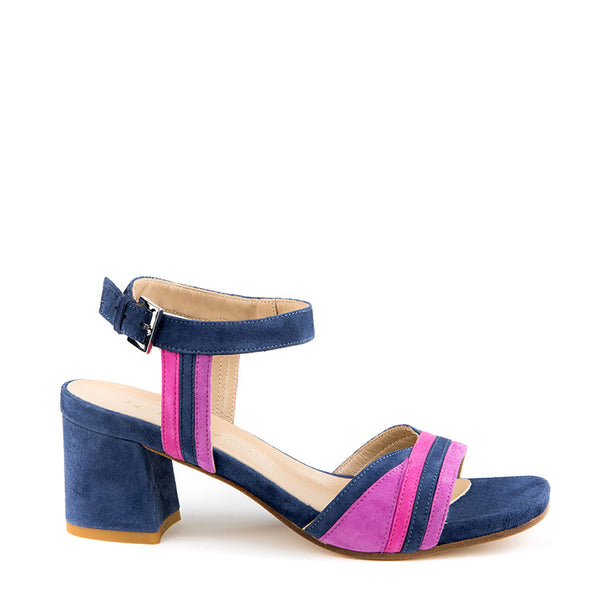 Suede sandal with chunky heel