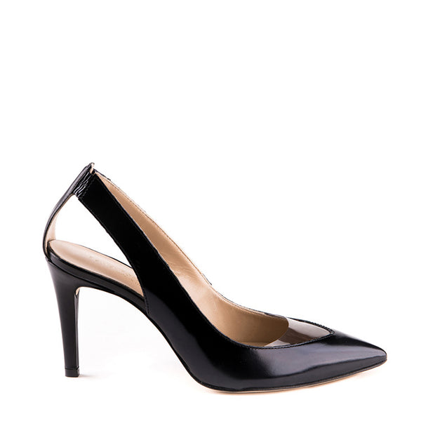 Pointy pump with ankle cutout