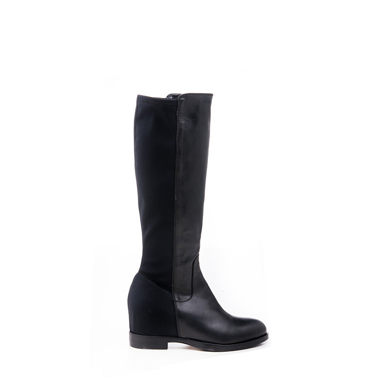 Black elastic knee high boot