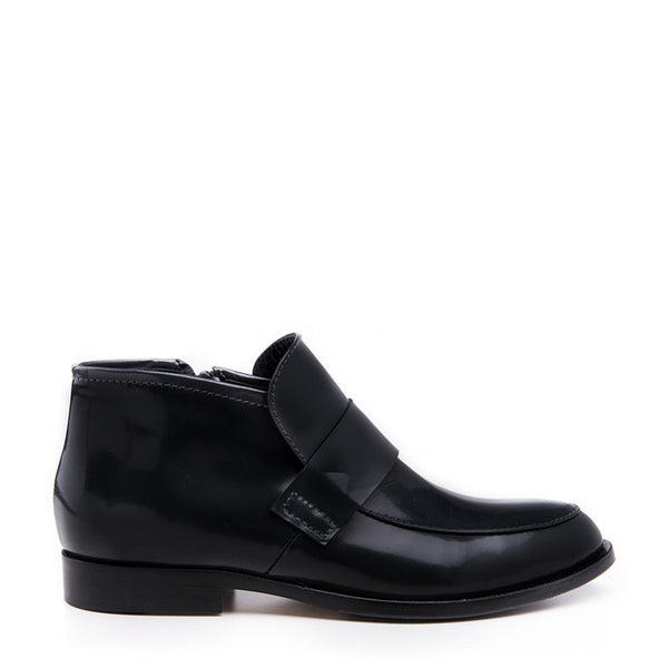 Leather bootie loafer
