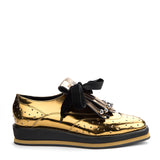 Detachable embellish fringe metallic leather platform brogues