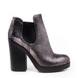 Gunmetal rubber sole bootie