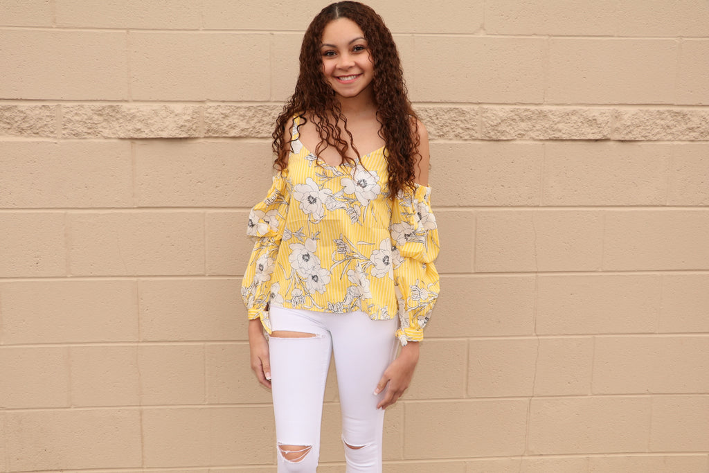 Yellow Striped and Floral Top