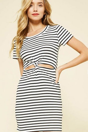 Front Knot Striped Dress