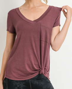 Deep V neck pocket top