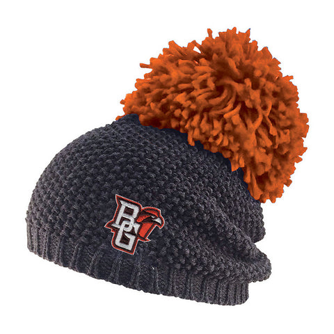 Grey Knit BGSU Peekaboo Hat w/ Large Pom Pom