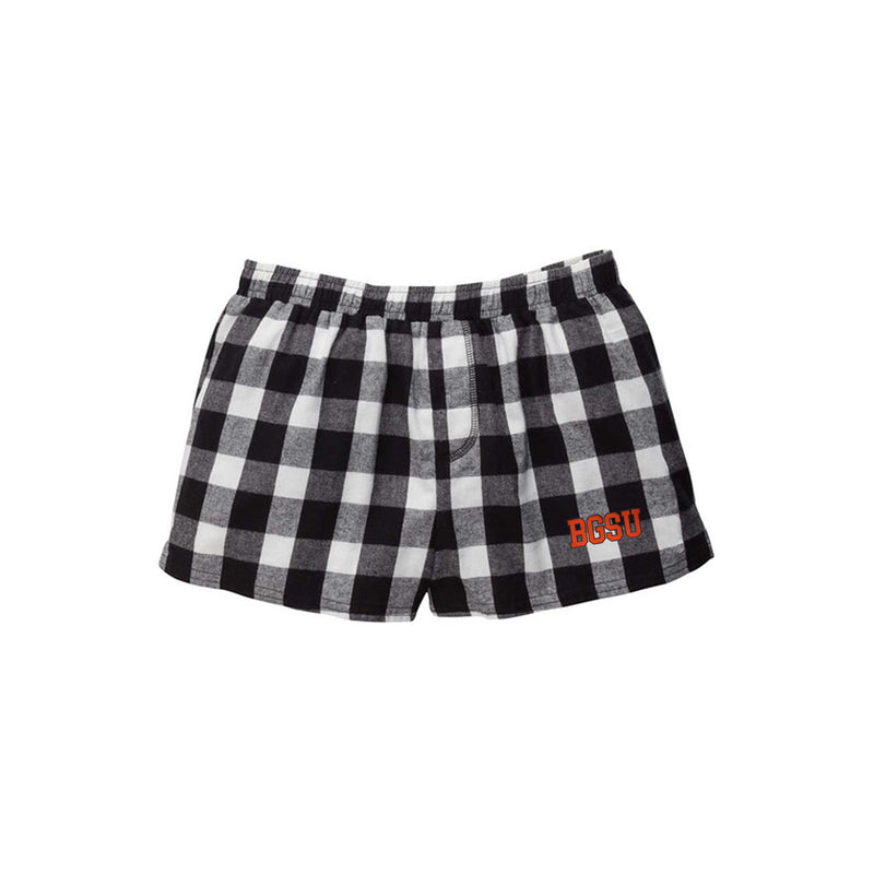 Ladies BGSU Boxercraft Plaid Flannel Shorts