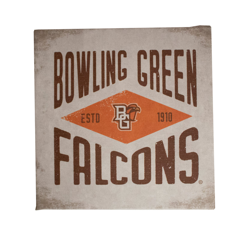 "White Bowling Green Falcons 9""x9"" Canvas"