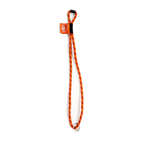 Striped Orange and Brown Lanyard w/Peekaboo Tag