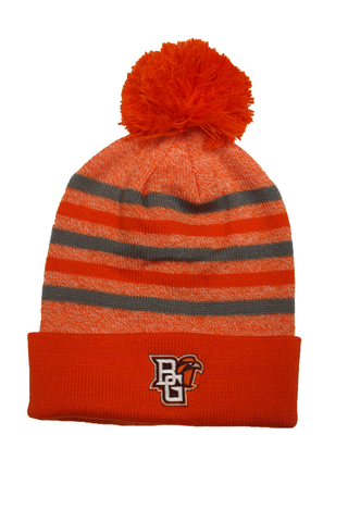 Orange and Grey Striped Pom Hat