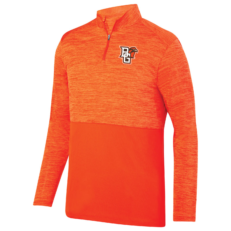 Mens Tonal 1/4 Zip with BGSU Mascot Logo
