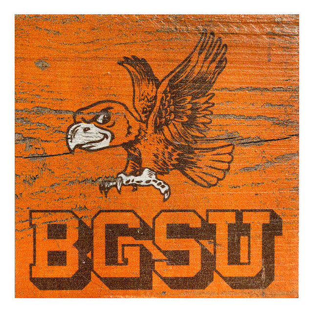 Orange BGSU Vintage Wood Magnet
