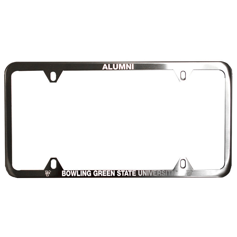 Brushed Metal BGSU Alumni License Plate Frame