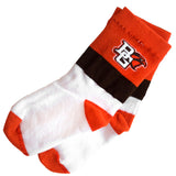 Orange and Brown Striped BGSU Socks
