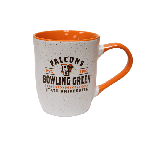 White and Orange Speckled Mug