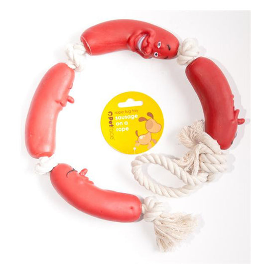 Sausage on a rope fun dog toy