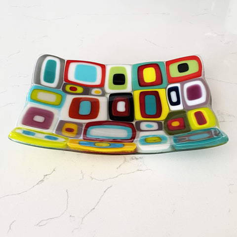 Sophie Thomas Jewellery - Handmade Fused Glass Multicoloured Dish - Nosek's Just Gems