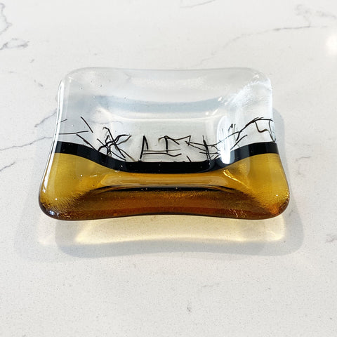 Sophie Thomas Jewellery - Handmade Fused Glass Trinket Dish - Yellow - Nosek's Just Gems