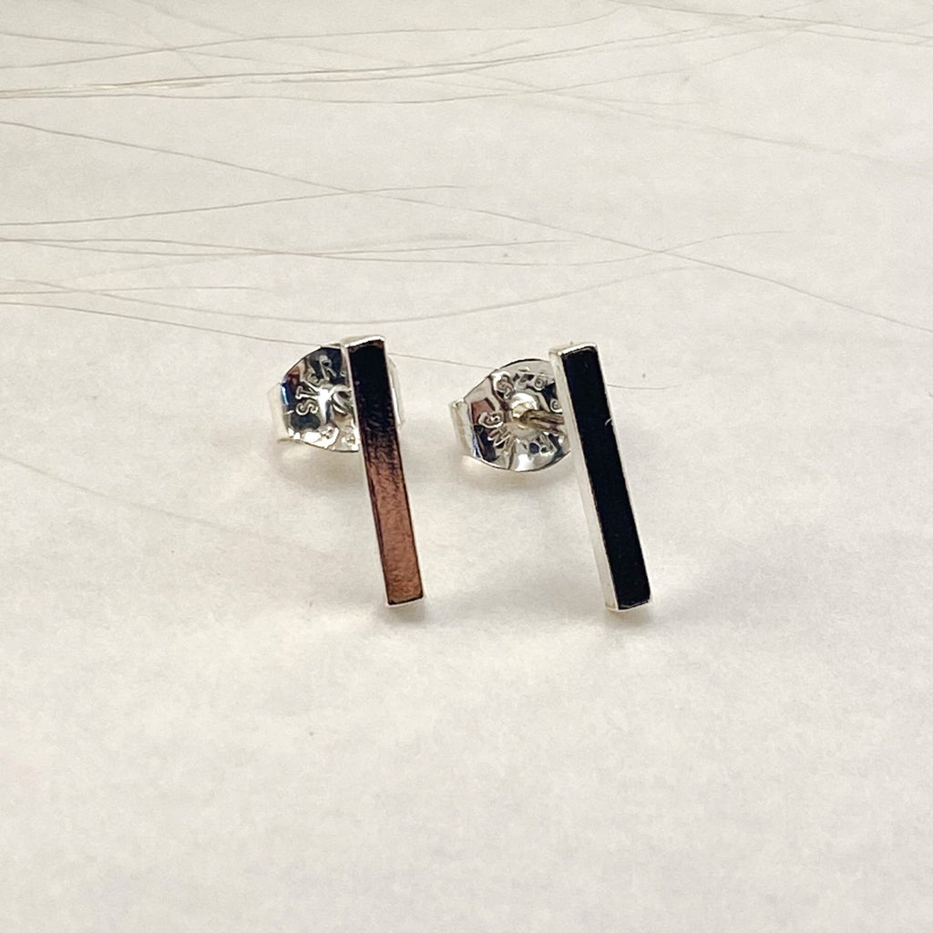 Sophie Thomas Jewellery - Sterling Silver Bar Stud Earrings - Nosek's Just Gems