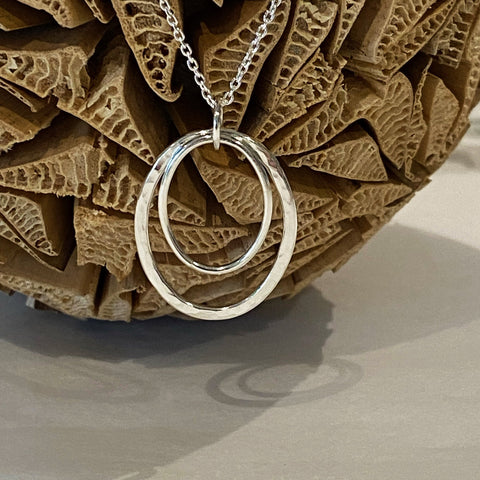 Sophie Thomas Jewellery - Sterling Silver Double Oval Pendant Necklace - Nosek's Just Gems