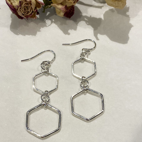 Sophie Thomas Jewellery - Sterling Silver Hexagon Drop Earrings - Nosek's Just Gems