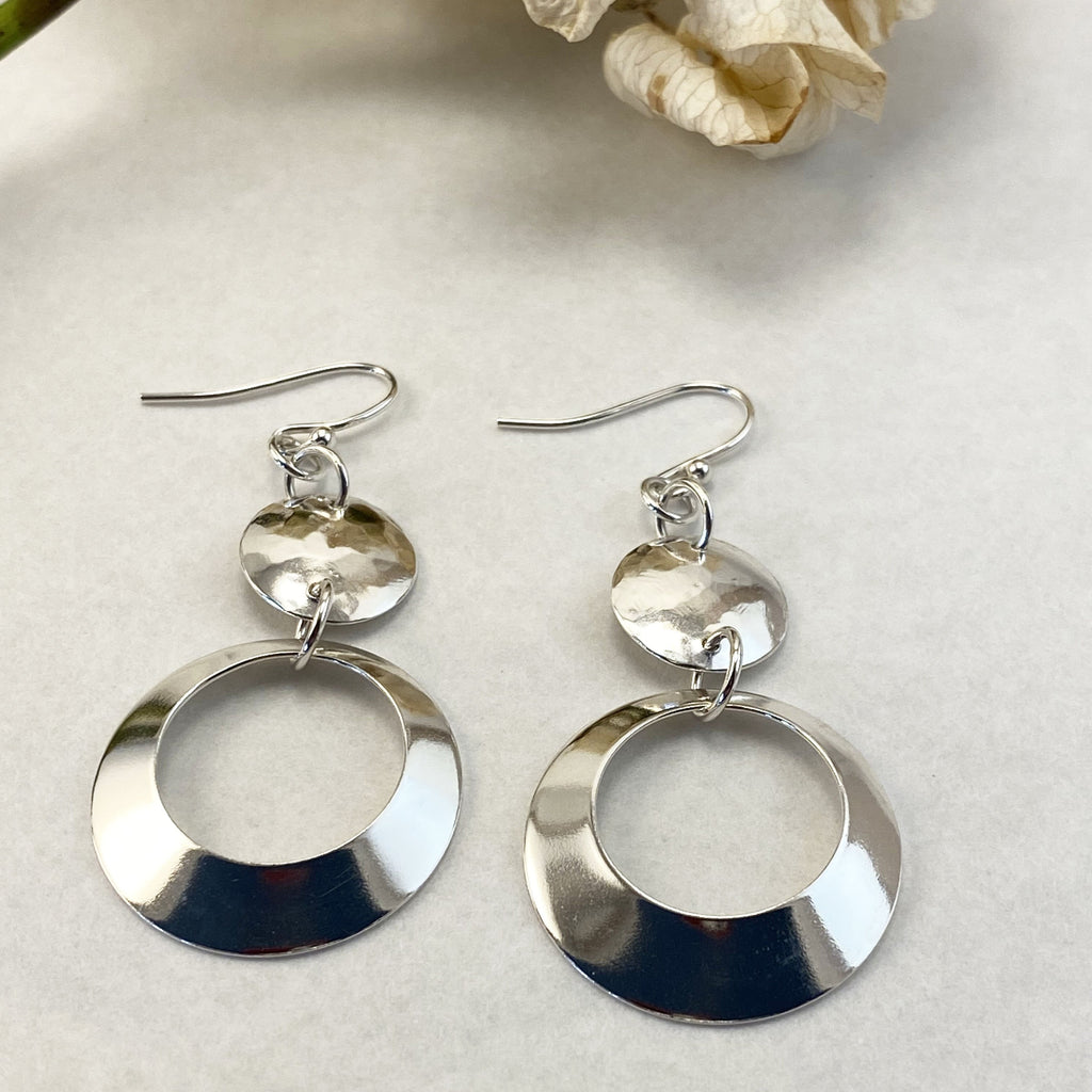 Sophie Thomas Jewellery - Sterling Silver Open Circle Drop Earrings - small top - Nosek's Just Gems