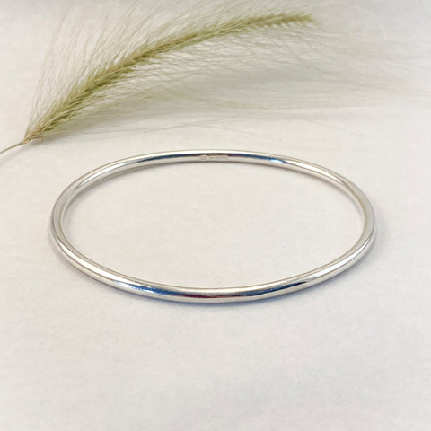 Sophie Thomas Jewellery - Sterling Silver Oval Bangle 3mm- Smooth Polished - Nosek's Just Gems