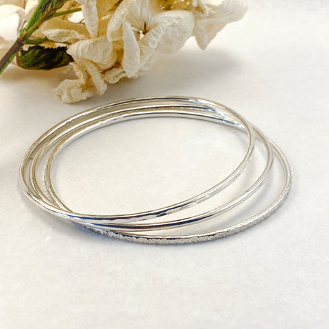 Sophie Thomas Jewellery - Sterling Silver Oval Bangles 2mm - set of 3 - Nosek's Just Gems
