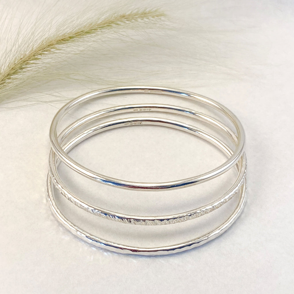 Sophie Thomas Jewellery - Sterling Silver Oval Bangles 3mm - set of 3 - Nosek's Just Gems