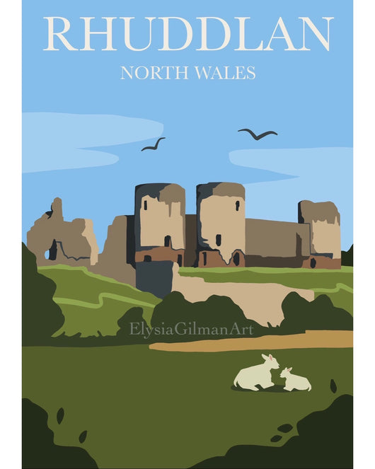 Art of Rhuddlan Castle Print by Elysia Gilman