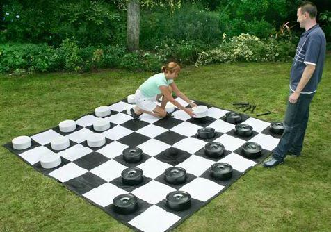 Buy giant oversized checkers with mat