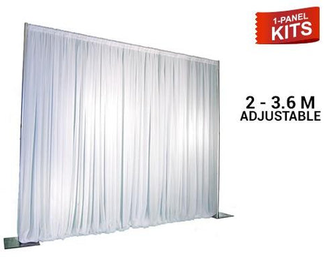 Pipe & Drape - 1-Panel Pipe And Drape Kit / Backdrop - 7ft-12ft Tall (Adjustable)