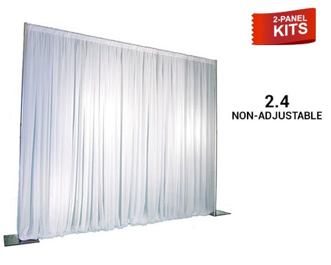 Pipe & Drape - 2-Panel Pipe And Drape Kit / Backdrop - 8ft Tall (Non-Adjustable) For Sale Online