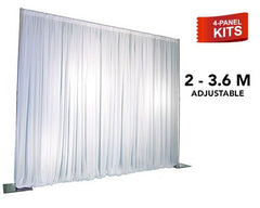 Pipe & Drape - 4-Panel Pipe And Drape Kit / Backdrop - Seven (7) Foot - Twelve (12) Foot Tall (Adjustable)