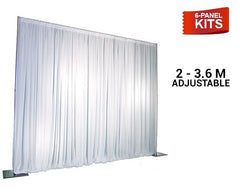 Pipe & Drape - 6-Panel Pipe And Drape Kit / Backdrop - 7ft-12ft Tall (Adjustable)