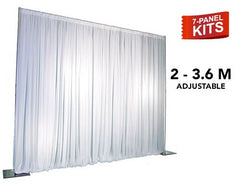 Pipe & Drape - 7-Panel Pipe And Drape Kit / Backdrop - 7ft - 12ft Feet Tall (Adjustable)