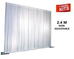 Pipe & Drape - 7-Panel Pipe And Drape Kit / Backdrop - 8 Foot Tall (Non-Adjustable) For Sale Online