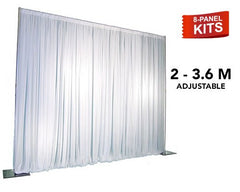 Pipe & Drape - 8-Panel Pipe And Drape Kit / Backdrop - 7ft - 12ft Tall (Adjustable)