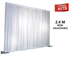 Pipe & Drape - 8-Panel Pipe And Drape Kit / Backdrop - 8 Feet Tall (Non-Adjustable) For Sale Online