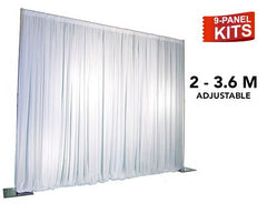 Pipe & Drape - 9-Panel Pipe And Drape Kit / Backdrop - 7ft - 12ft  (Adjustable)