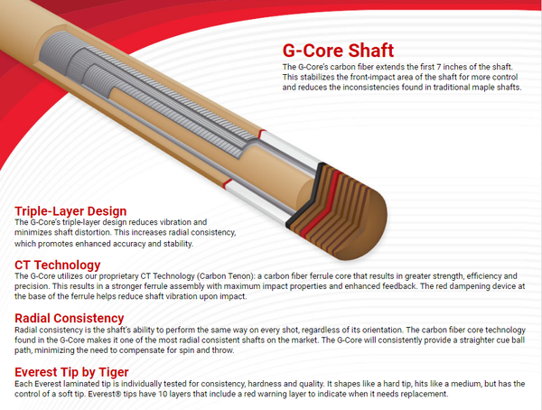 g core shaft by mcdermott - absolute cues