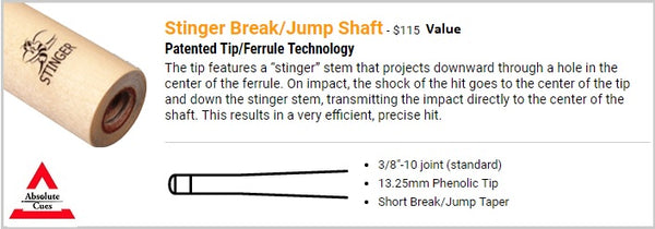 stinger break jump shaft specs - absolute cues